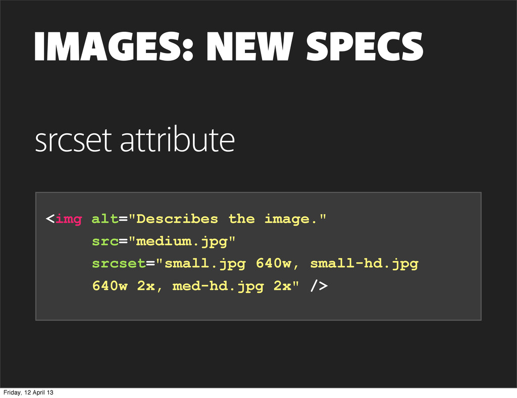 """IMAGES: NEW SPECS <img alt=""""Describes the image..."""