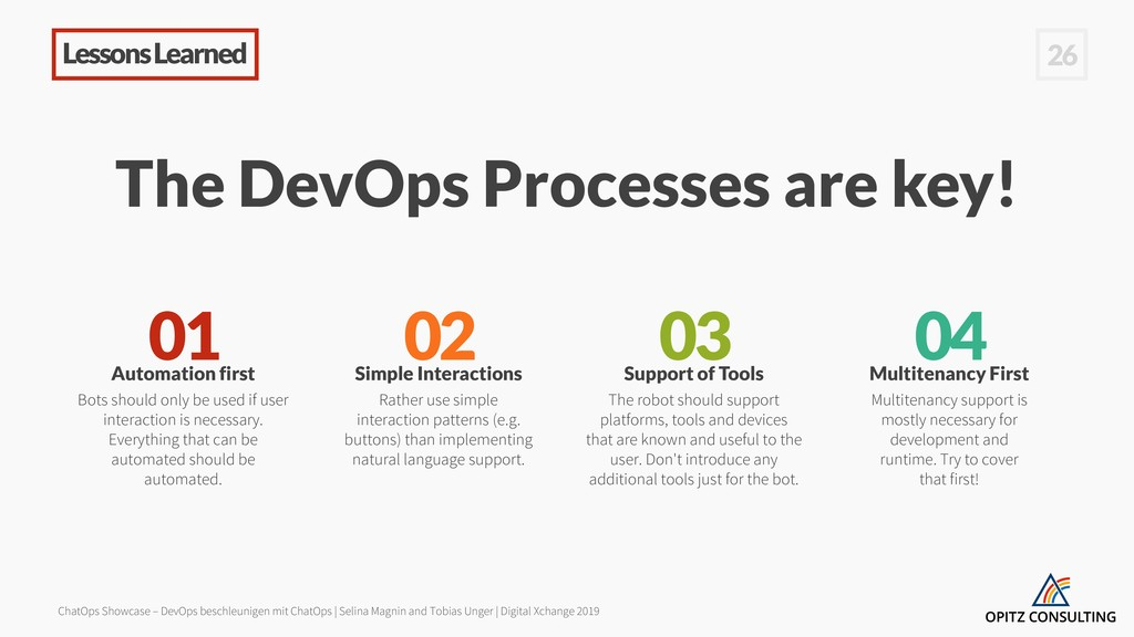 Lessons Learned 26 The DevOps Processes are key...
