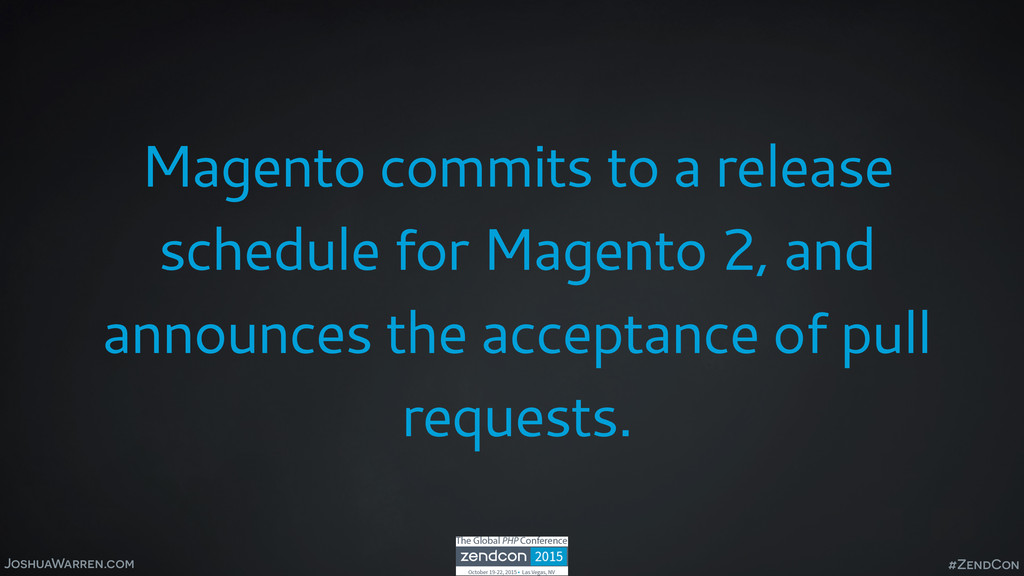 JoshuaWarren.com Magento commits to a release s...