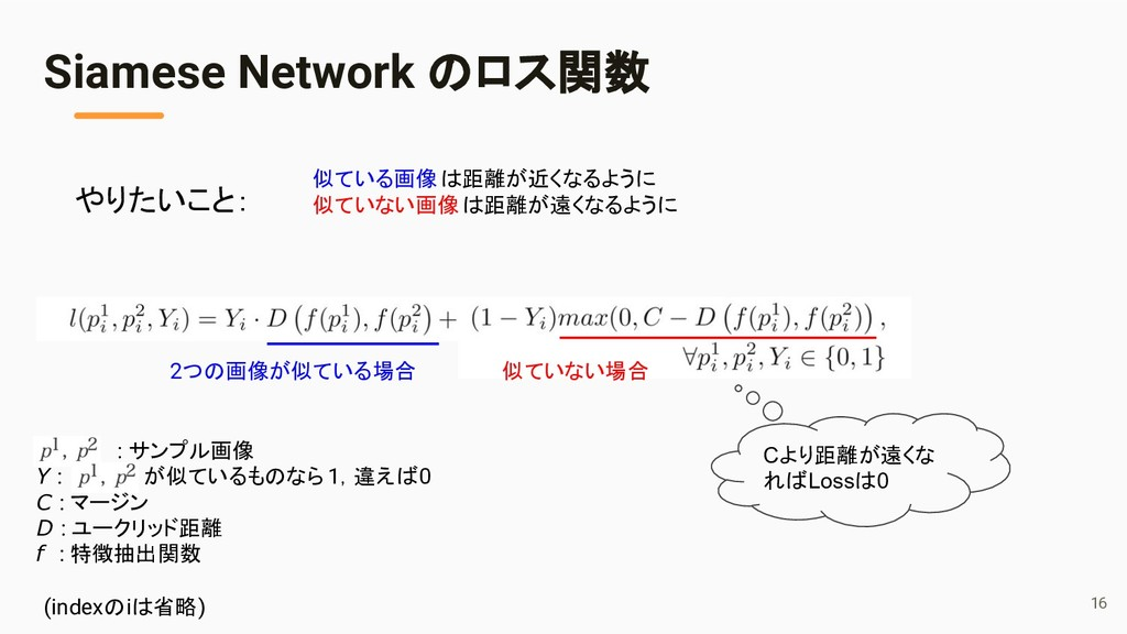 Siamese Network のロス関数 : サンプル画像 Y : が似ているものなら1,違...