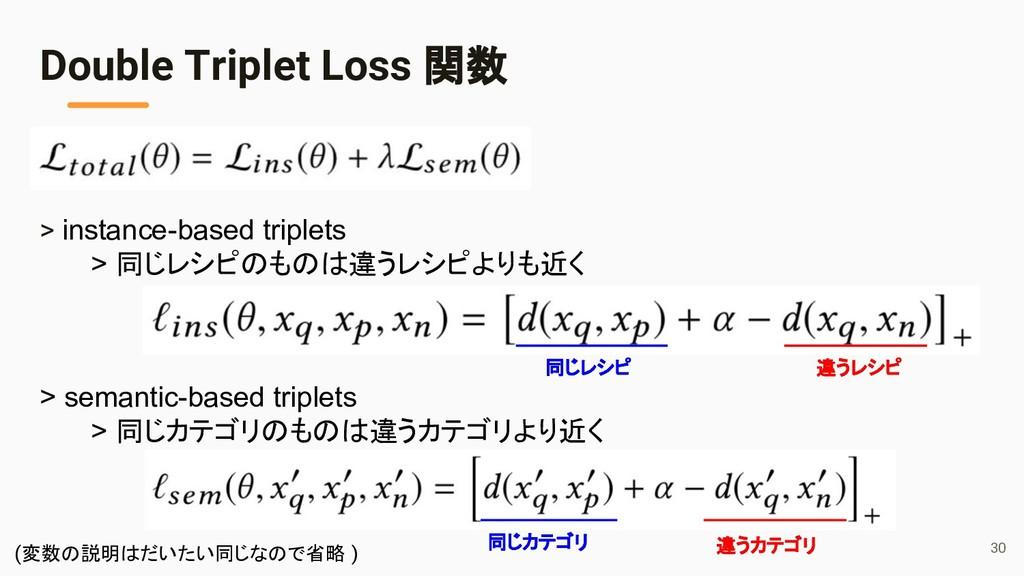 > instance-based triplets > 同じレシピのものは違うレシピよりも近く...