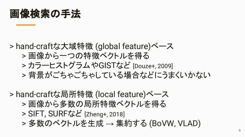 > hand-craftな大域特徴 (global feature)ベース > 画像から一つの...