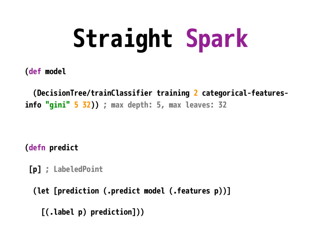 Straight Spark (def model (DecisionTree/trainCl...