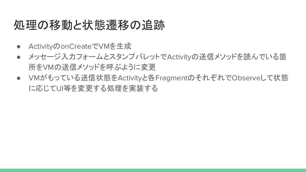 処理の移動と状態遷移の追跡 ● ActivityのonCreateでVMを生成 ● メッセージ...