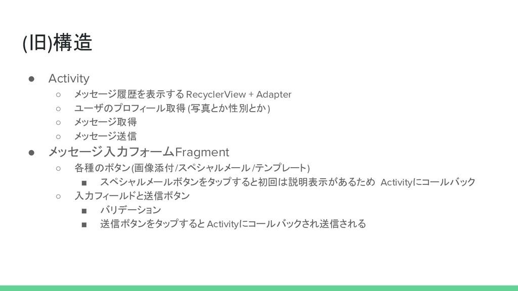 (旧)構造 ● Activity ○ メッセージ履歴を表示する RecyclerView + ...