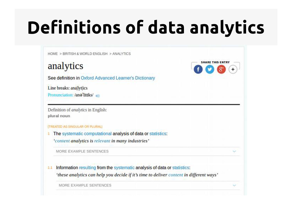Definitions of data analytics