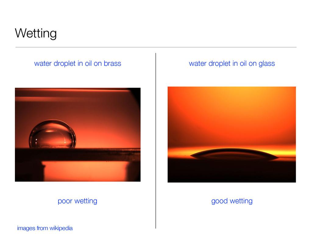 Wetting water droplet in oil on brass water dro...