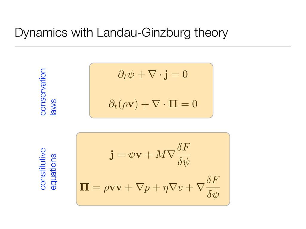 Dynamics with Landau-Ginzburg theory @t + · j =...