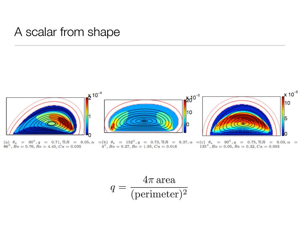 A scalar from shape q = 4 area (perimeter)2