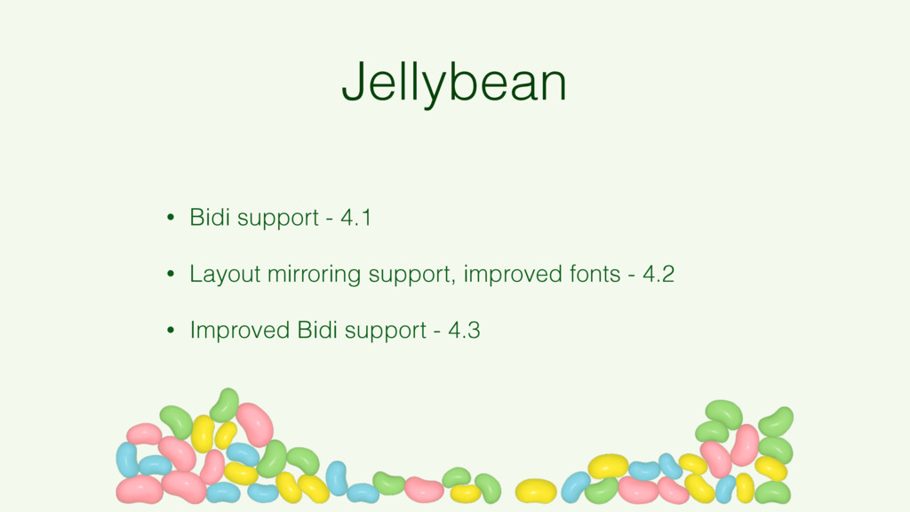 Jellybean • Bidi support - 4.1 • Layout mirrori...