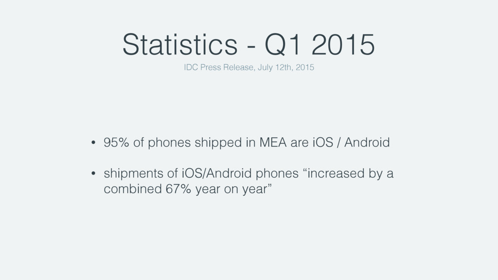 Statistics - Q1 2015 • 95% of phones shipped in...