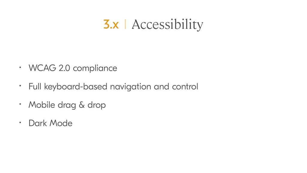 Accessibility • WCAG 2.0 compliance • Full keyb...