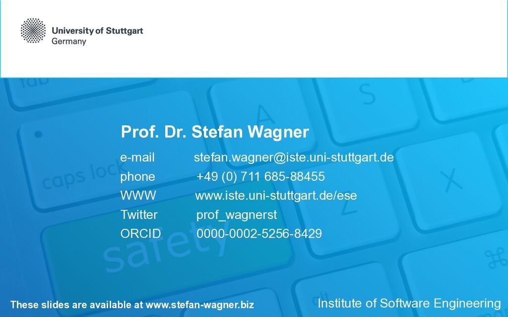 Prof. Dr. Stefan Wagner e-mail stefan.wagner@is...