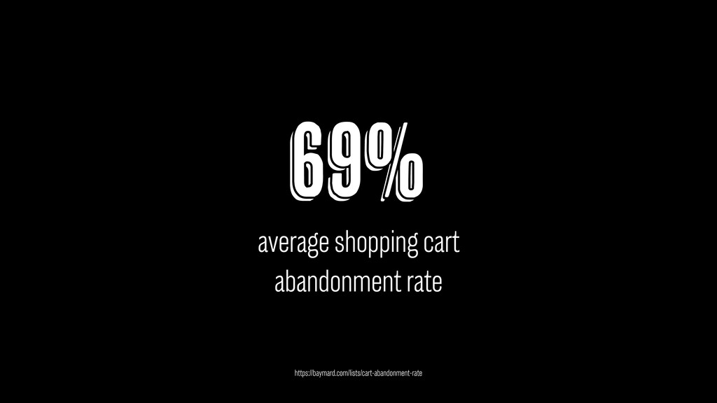 69% average shopping cart abandonment rate http...