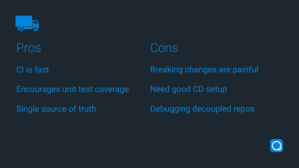 Pros Cons CI is fast Encourages unit test cover...