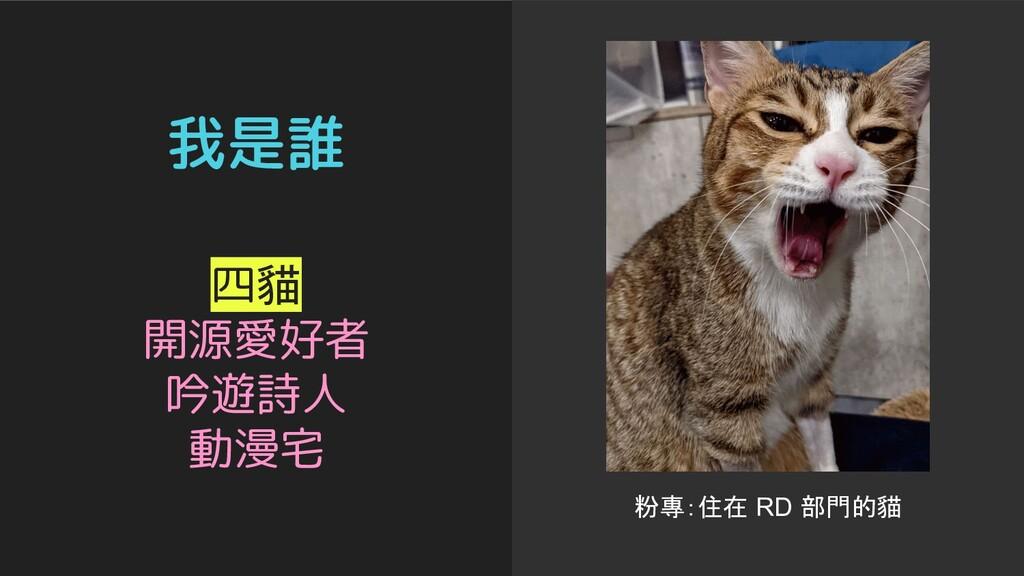 我是誰 粉專:住在 RD 部門的貓 四貓 開源愛好者 吟遊詩人 動漫宅