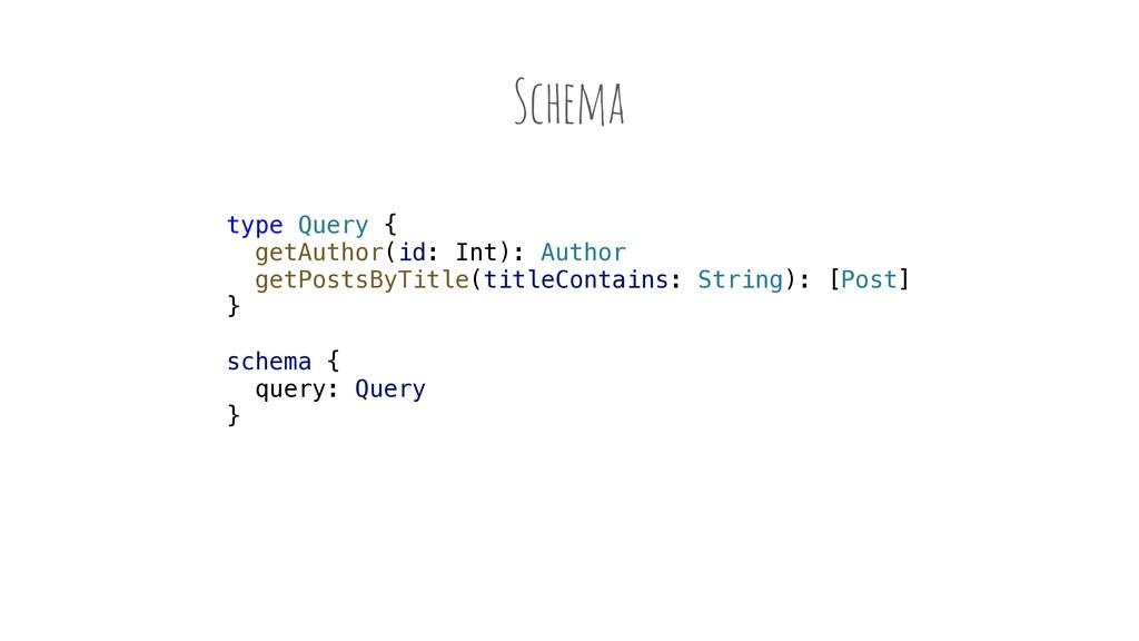 Schema type Query { getAuthor(id: Int): Author ...