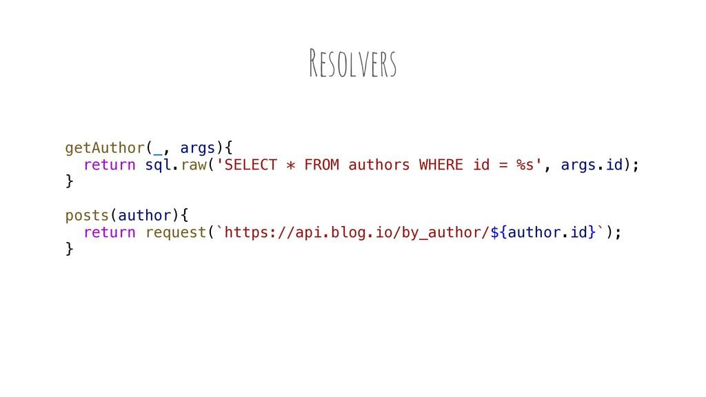 Resolvers getAuthor(_, args){ return sql.raw('S...