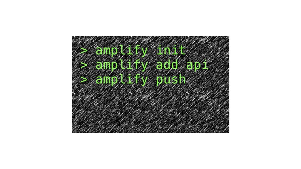 > amplify init > amplify add api > amplify push