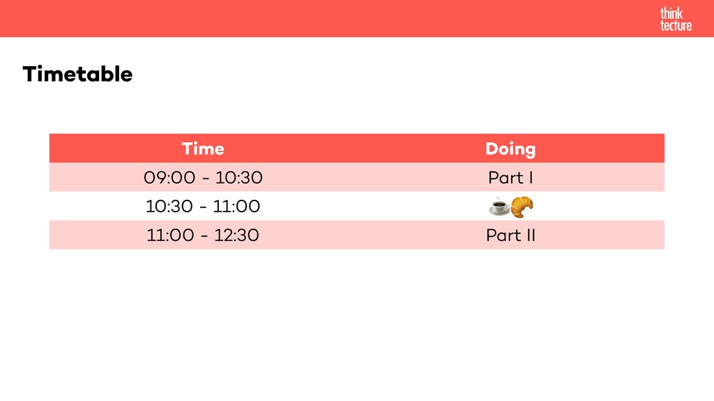 Timetable Time Doing 09:00 - 10:30 Part I 10:30...