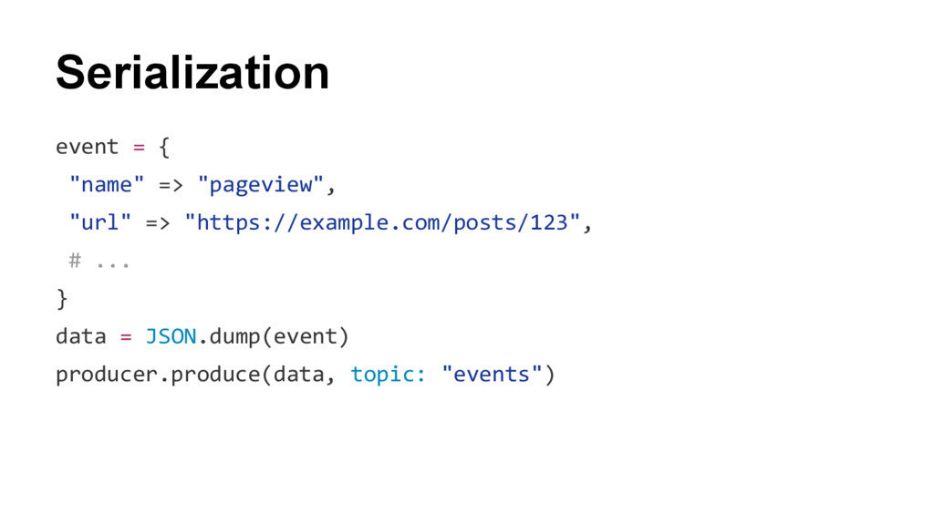"Serialization event = { ""name"" => ""pageview"", ""..."