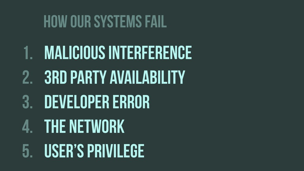 HOW OUR SYSTEMS FAIL 1. MALICIOUS INTERFERENCE ...