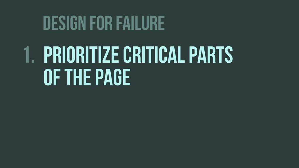 DESIGN FOR FAILURE 1. PRIORITIZE CRITICAL PARTS...