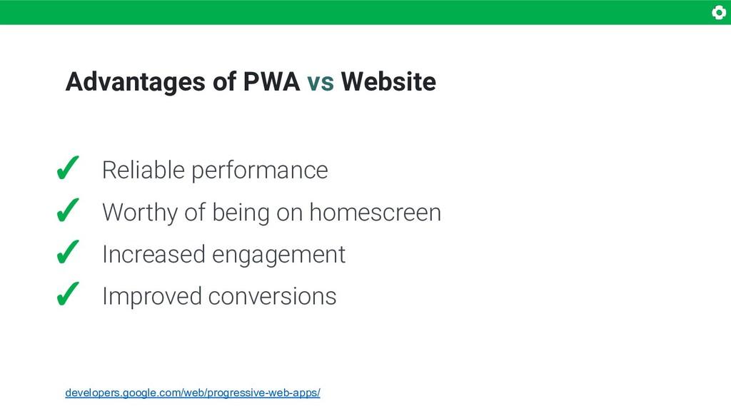 Advantages of PWA vs Website ✓ Reliable perform...