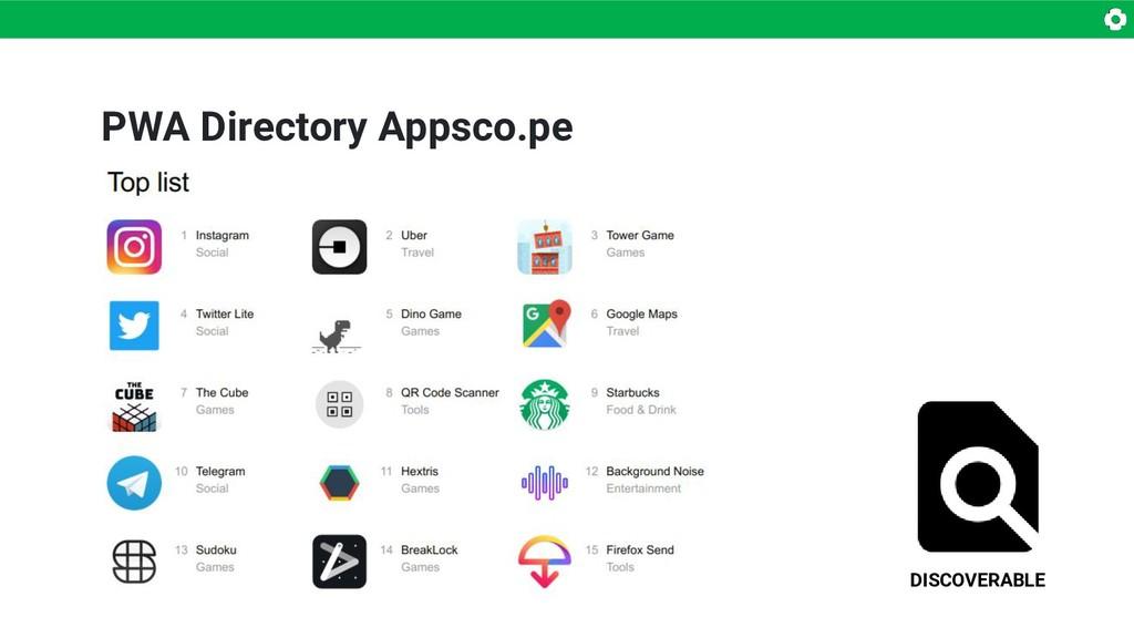 DISCOVERABLE PWA Directory Appsco.pe