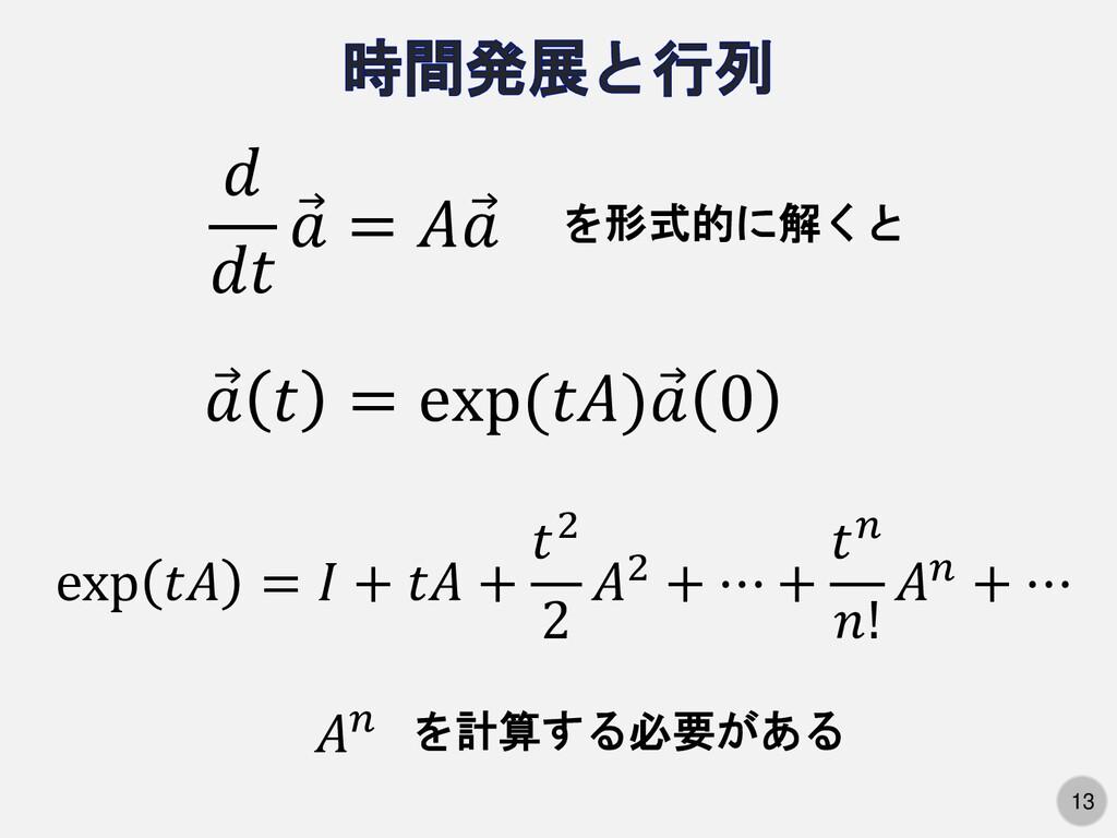 13   Ԧ  =  Ԧ  を形式的に解くと Ԧ   = exp() Ԧ  0 exp  = ...