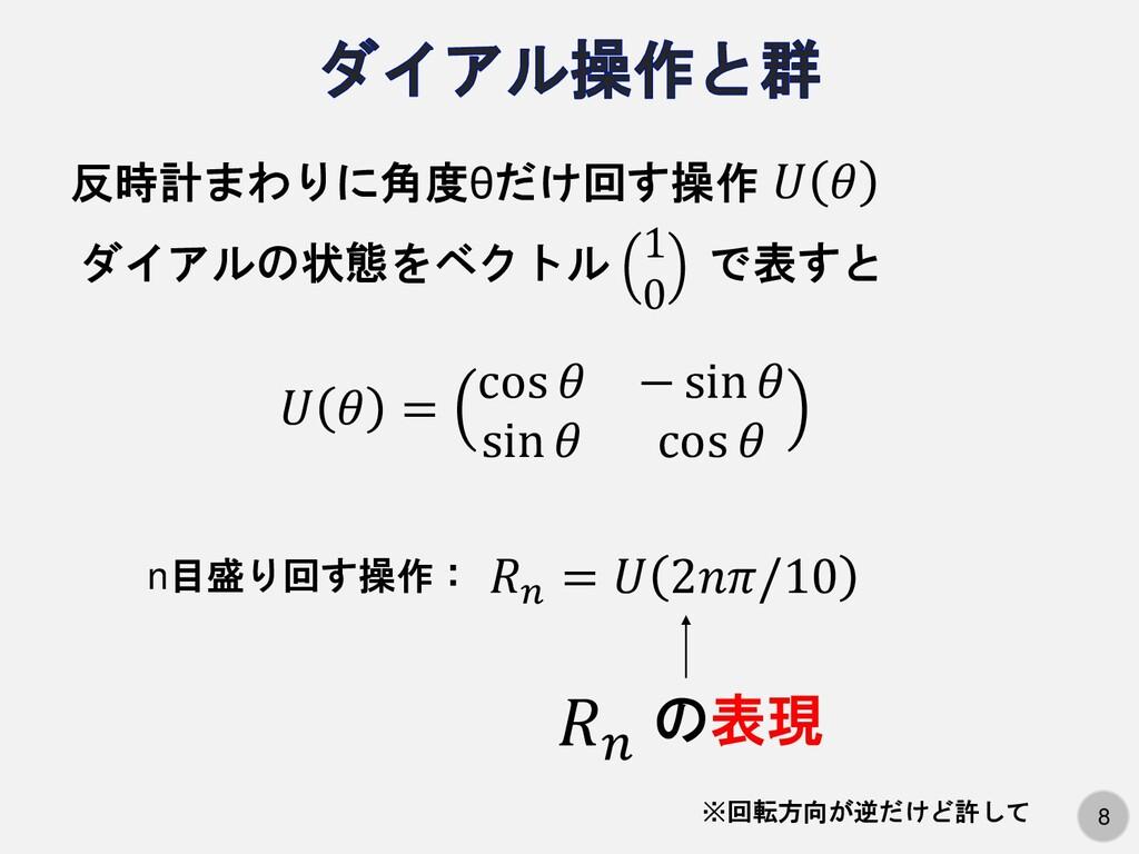 8   反時計まわりに角度θだけ回す操作 ダイアルの状態をベクトル で表すと 1 0   = ...