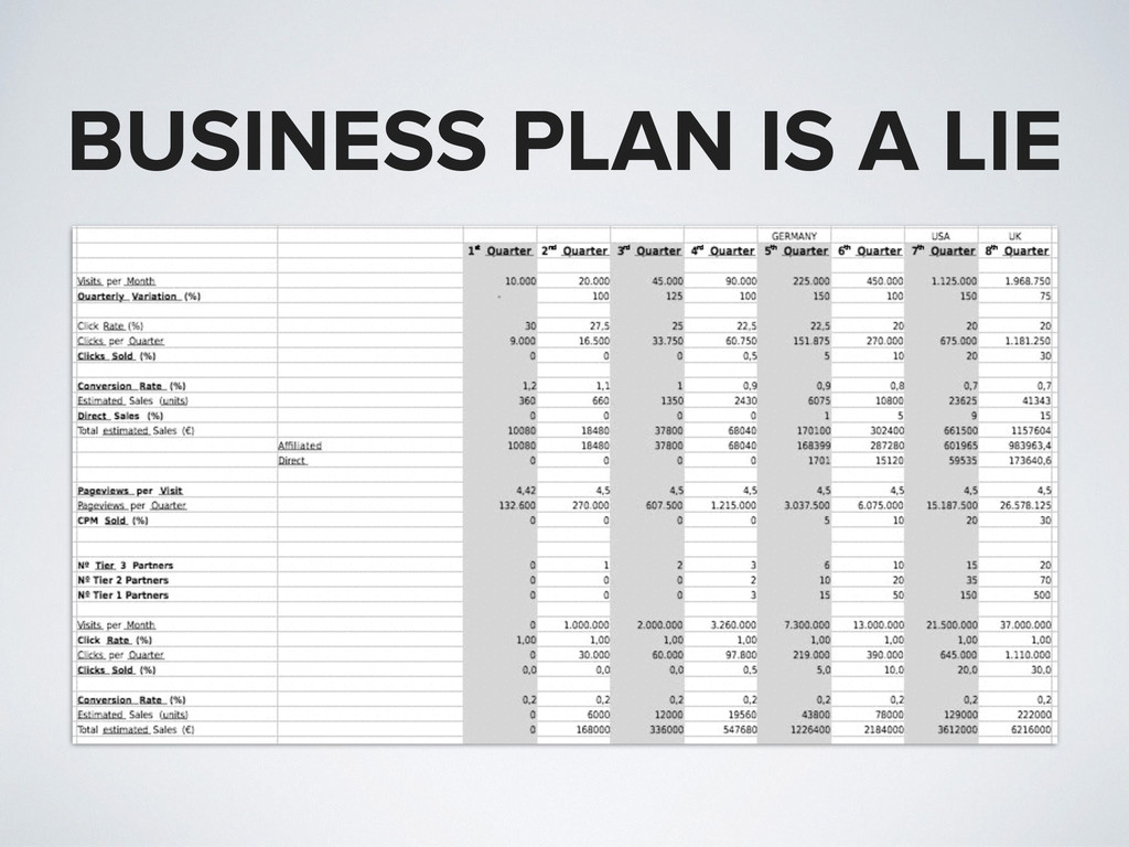 BUSINESS PLAN IS A LIE