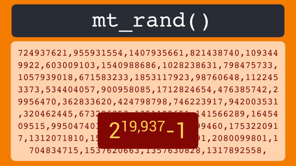 mt_rand() 724937621,955931554,1407935661,821438...