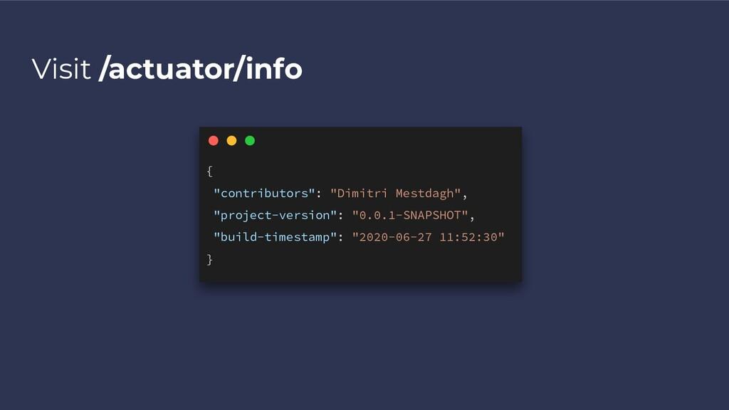"""Visit /actuator/info { """"contributors"""": """"Dimitri..."""
