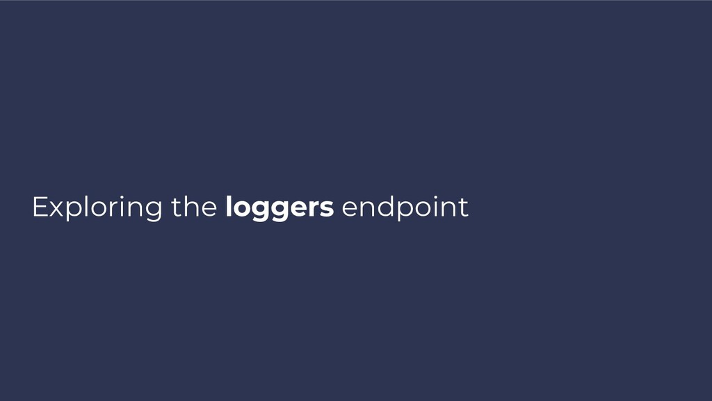Exploring the loggers endpoint