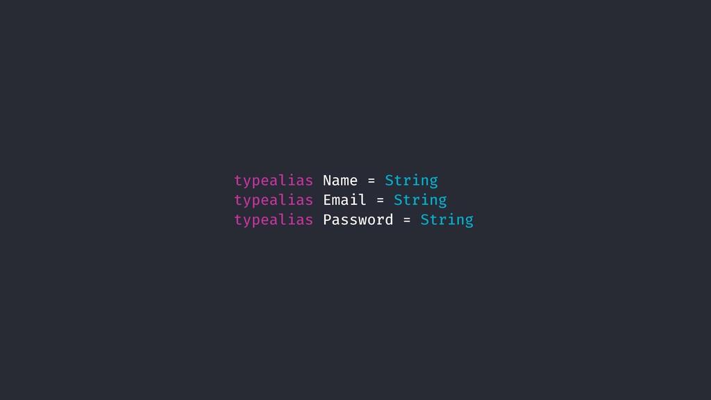 typealias Name = String typealias Email = Strin...