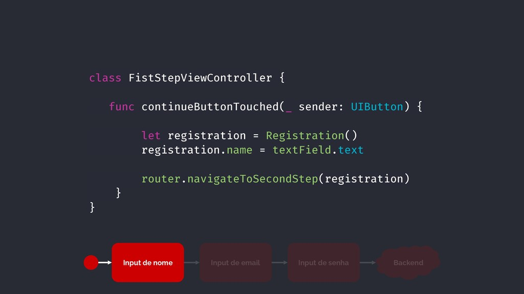 class FistStepViewController { func continueBut...