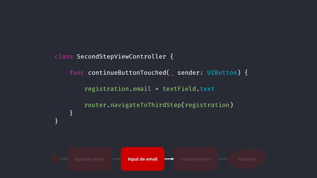 class SecondStepViewController { func continueB...