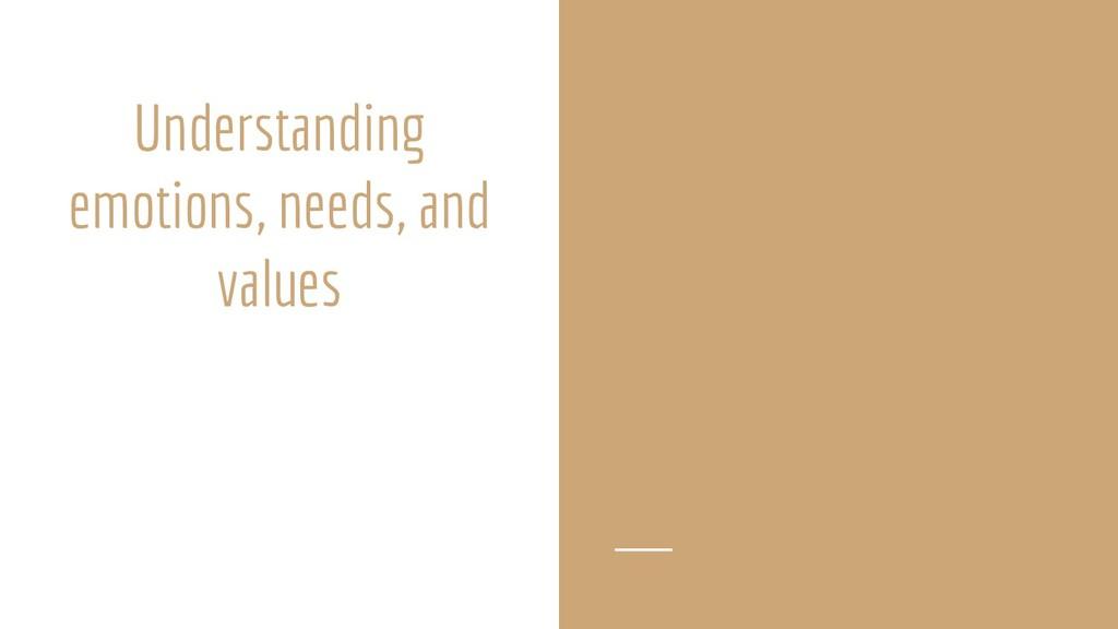 Understanding emotions, needs, and values