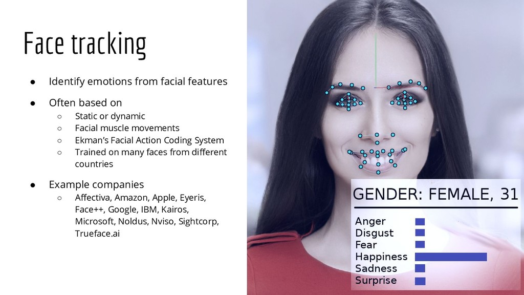 Face tracking ● Identify emotions from facial f...