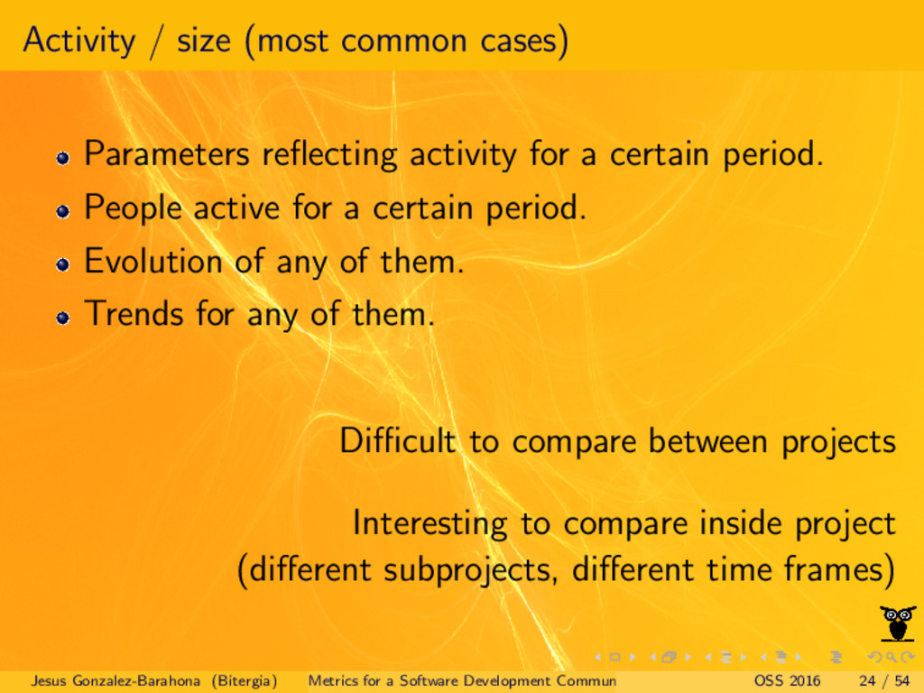 Activity / size (most common cases) Parameters ...