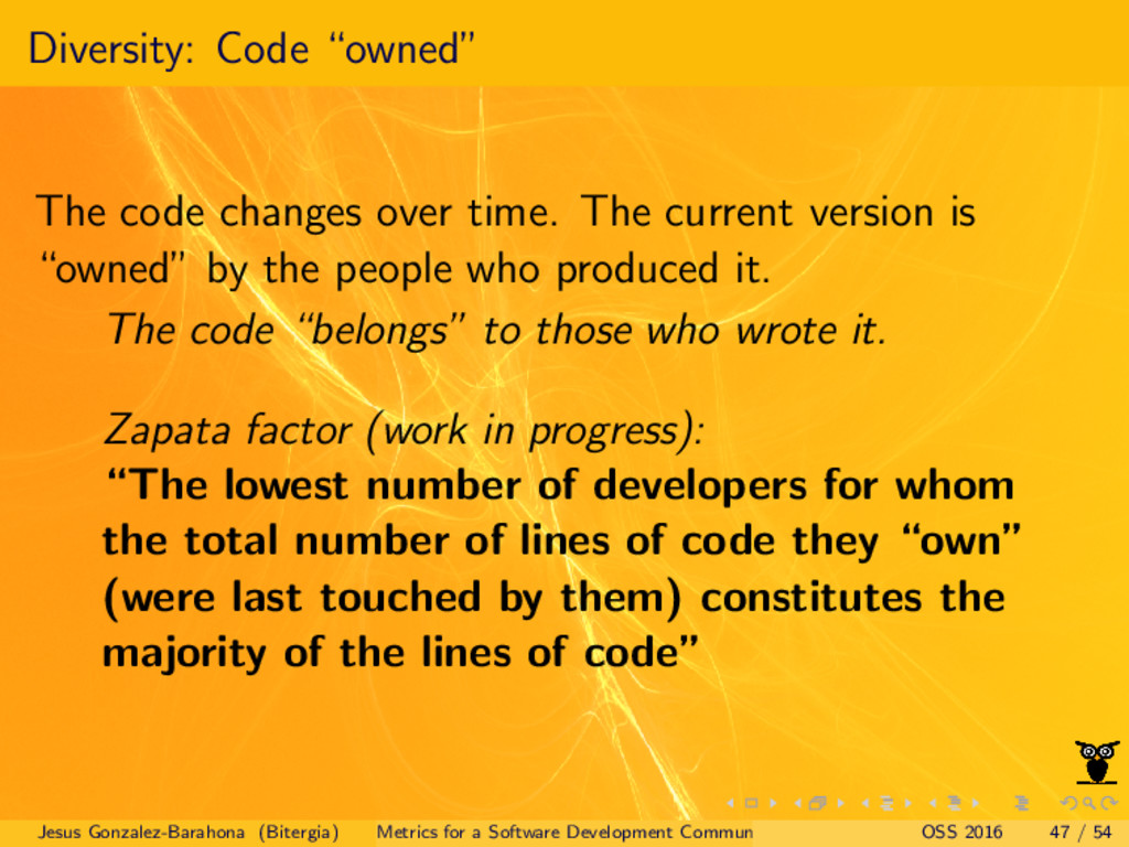 "Diversity: Code ""owned"" The code changes over t..."