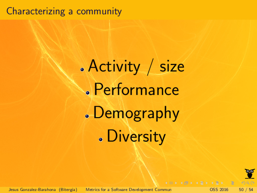Characterizing a community Activity / size Perf...