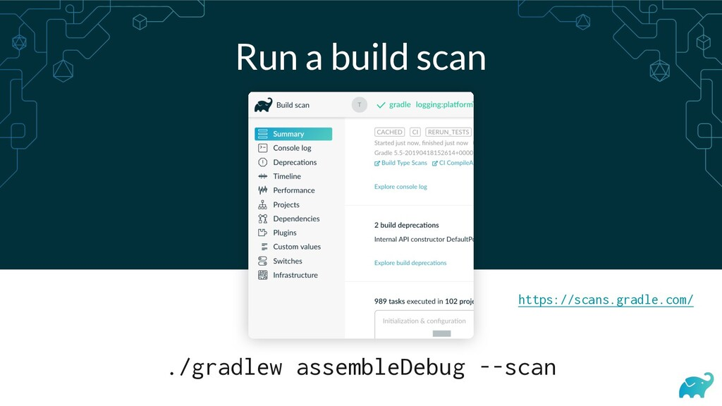 Run a build scan ./gradlew assembleDebug --scan...