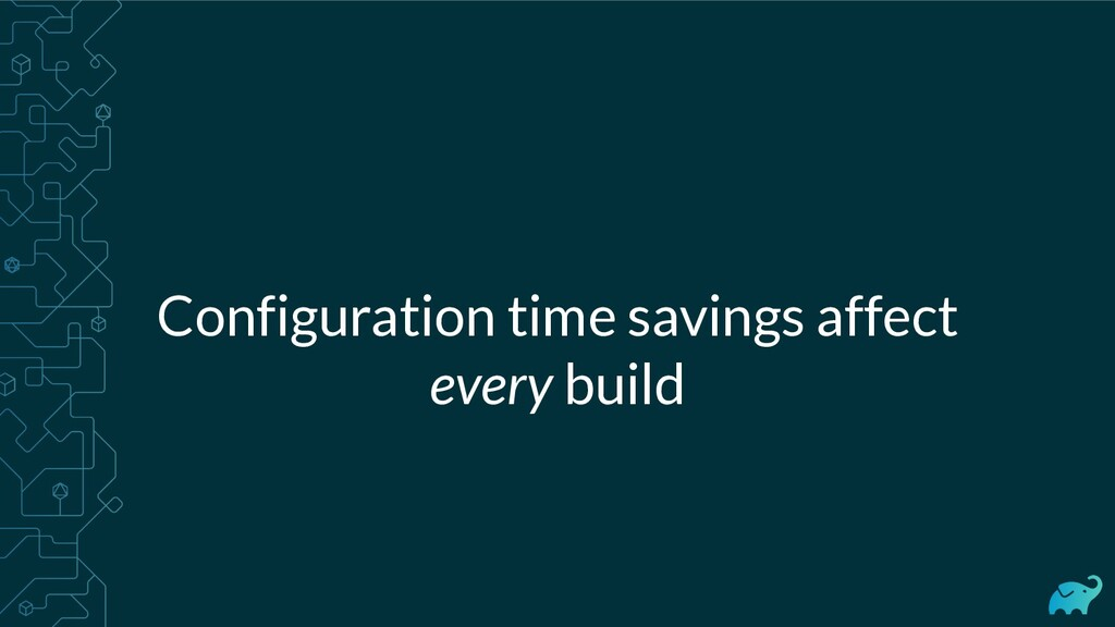 Configuration time savings affect every build
