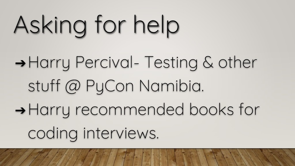 Asking for help ➔ Harry Percival- Testing & oth...