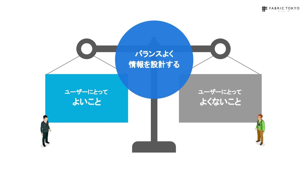 ユーザーにとって よいこと ユーザーにとって よくないこと バランスよく 情報を設計する