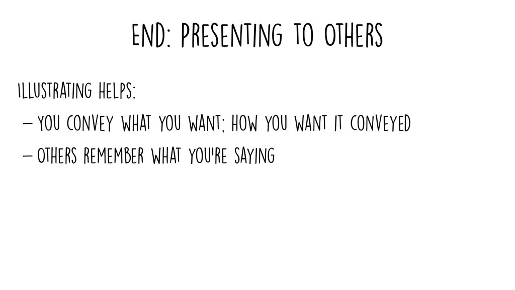 End: Presenting to Others Illustrating helps: -...