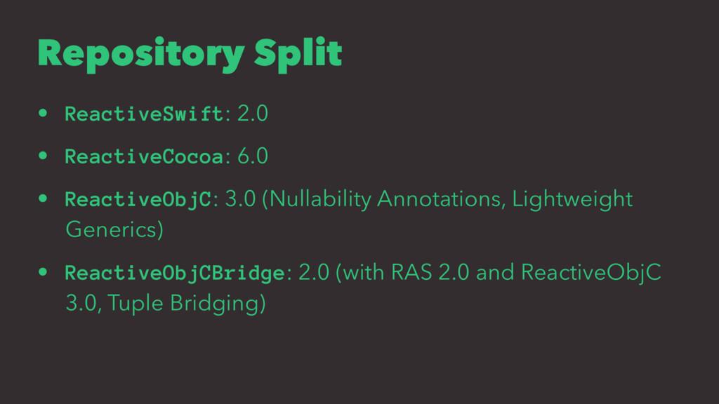 Repository Split • ReactiveSwift: 2.0 • Reactiv...