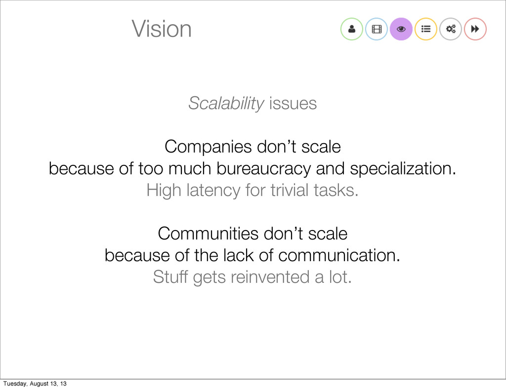 Vision Scalability issues Companies don't scale...